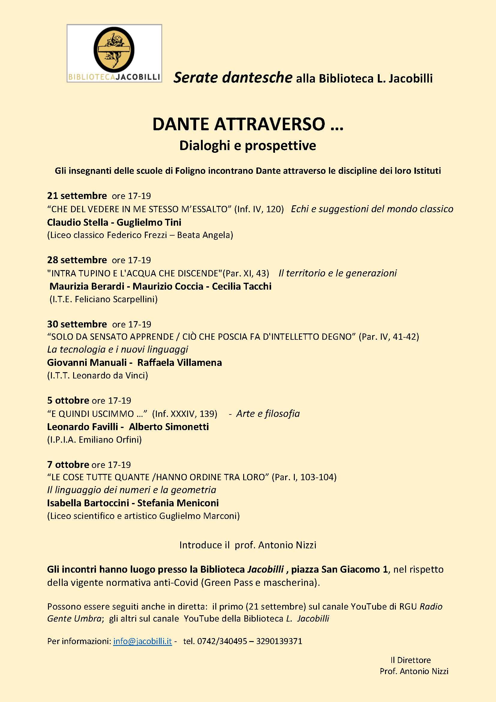 Dante attraverso –Serate dantesche con le scuole di Foligno